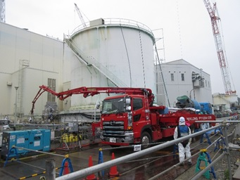 Fukushima Daiichi Nuclear Power Plant Filling Unit 2 Seawater pipe trench