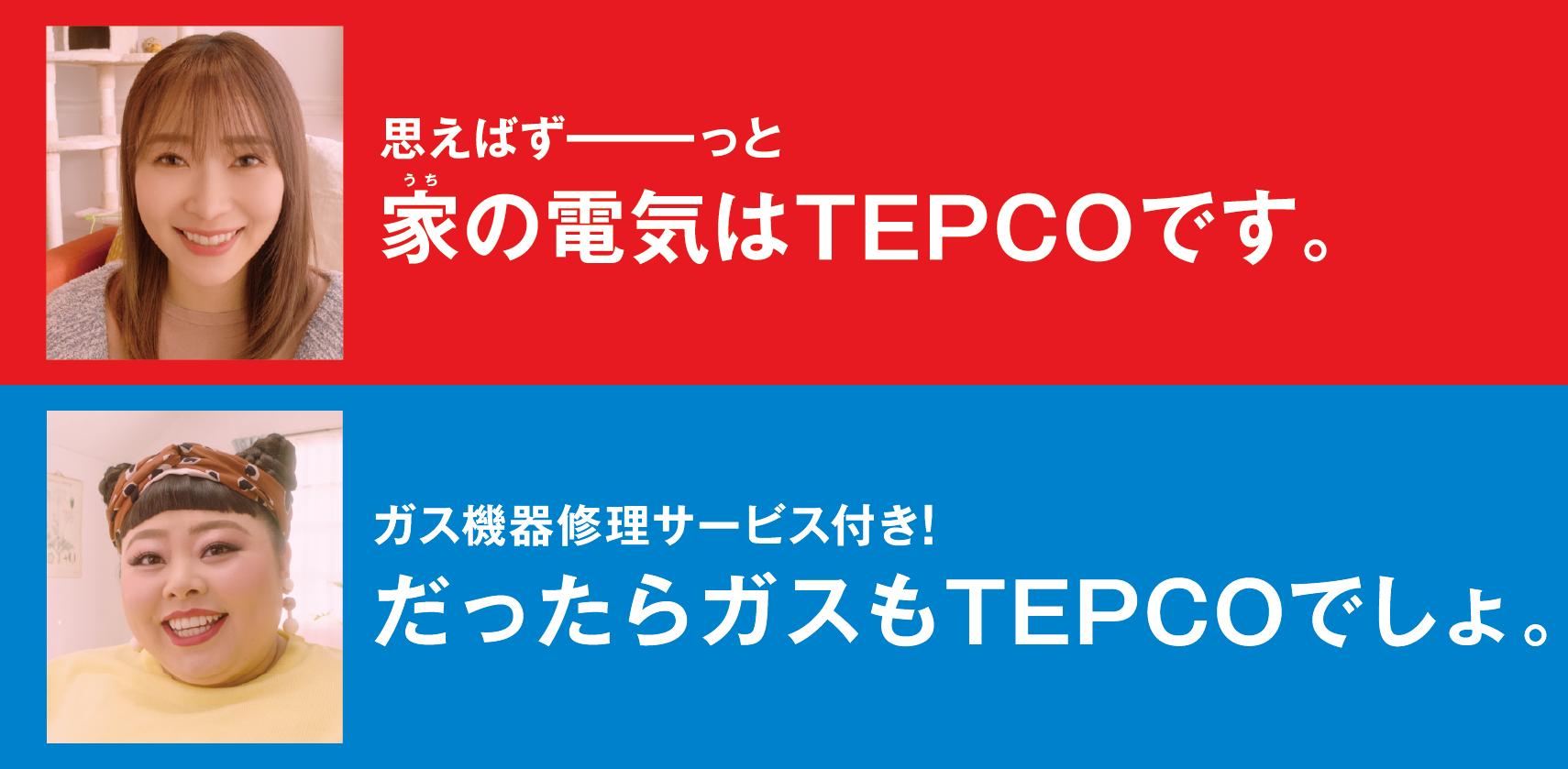 思えばずーーっと家の電気はTEPCOです。ガス機器修理サービス付き!だったらガスもTEPCOでしょ。