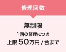 修理回数 無制限 1回の修理につき上限50万円/台まで